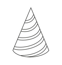 Line art black and white striped party hat vector