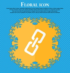 link icon Floral flat design on a blue abstract vector image