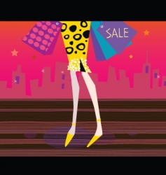 long legs woman is shopping vector image