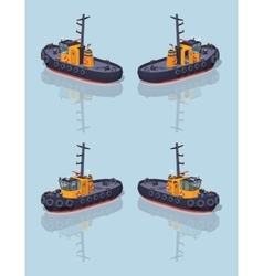 Low poly orange and black tugboat vector image