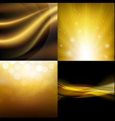 luxury golden backgrounds set vector image