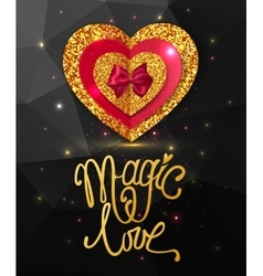 Magic love shining geometric background Gold vector