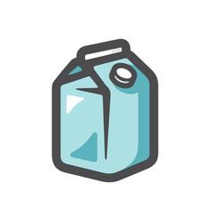 milk carton box with screw cap icon cartoon vector image