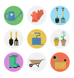 Nine color flat icon set - gardening vector
