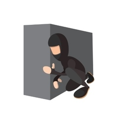 Ninja hiding the wall icon vector