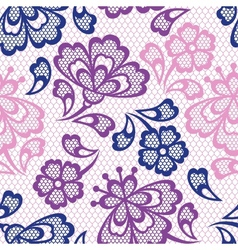 Old lace seamless pattern ornamental flowers vector