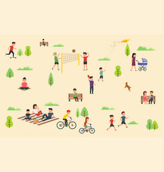 people relax in nature in park leisure in the vector image