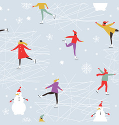 people skating on ice rink vector image