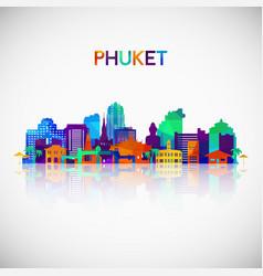 Phuket skyline silhouette in colorful geometric vector