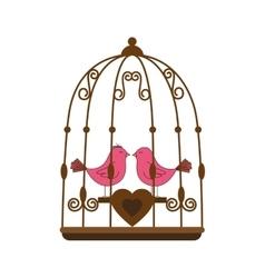 Pink bird cage valentine vector
