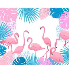 pink flamingo trendy tropical design leaves of vector image