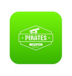 pirate cannon icon green vector image