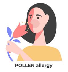 Pollen allergy allergic girl with flower sneezing vector