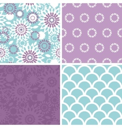 Purple and blue floral abstract set of four vector