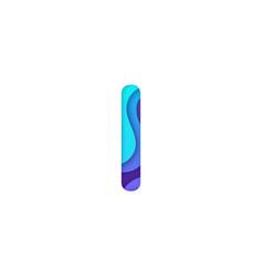realistic paper cut letter i vector image