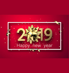 Red 2019 happy new year card with gold bow and vector
