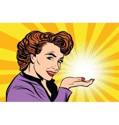 Retro woman advertising and light on the palm vector