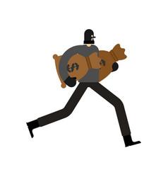 Robber and bag money burglar in mask run vector