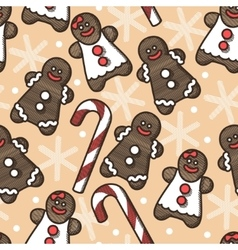 Seamless gingerbread and snoflakes vector image vector image