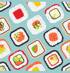 seamless pattern of cute colored sushi rolls vector image