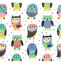 seamless pattern with cartoon owls baby vector image