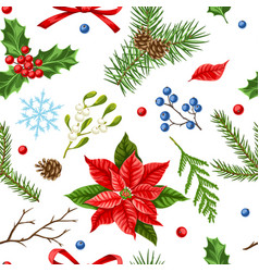 Seamless pattern with winter plants vector