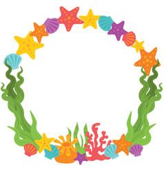 Seashells and seaweed wreath vector