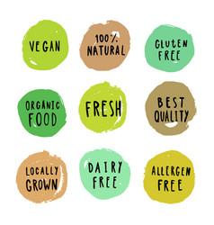 set food badges vegan gluten etc vector image