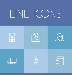 Set of 6 editable shopping outline icons includes vector