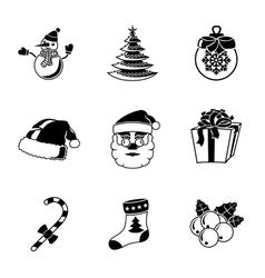 Set of CHRISTMAS icons - snowman tree sock hat vector image