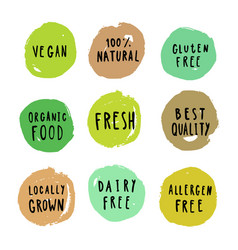 Set of food badges vegan gluten etc vector