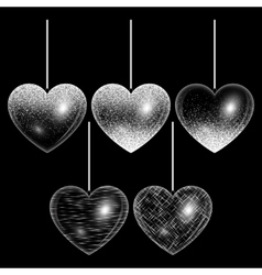 Set of hearts in silver style vector