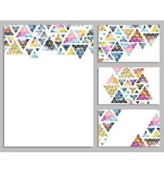 Set of trendy cards Cards with triangles vector