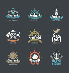 Set seafood logos for fish shop and restaurants vector