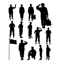 silhouette female soldier vector image