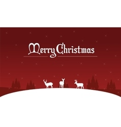 Silhouette of deer on the hill Christmas landscape vector image