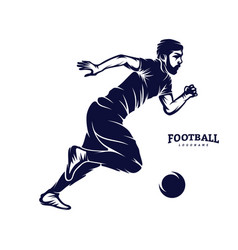 soccer and football player man logo silhouette vector image