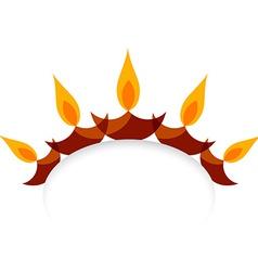 stylish diwali diya isolated on white background vector image