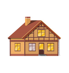 Suburban family house countryside brick house vector