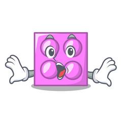 Surprised toy brick mascot cartoon vector