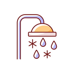 Taking cold bath or shower rgb color icon vector