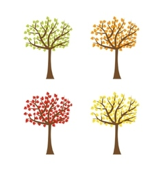Tree set with different color leaves Trunk vector