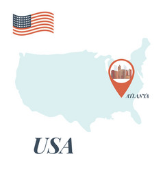 Usa map with atlanta pin travel concept vector