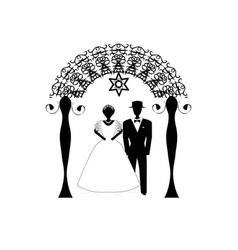 vintage chuppah archs jewish jewish wedding vector image