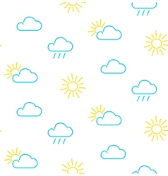 Weather sun clouds rain clouds seamless pattern vector image