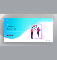 web dating website landing page man holding hands vector image