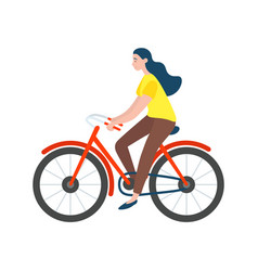 woman riding on bike isolated character vector image