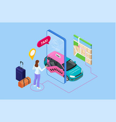 women only taxi service concept smartphone vector image