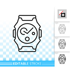 Wristwatch simple black line icon vector