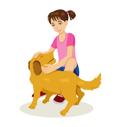 young girl with her dog vector image